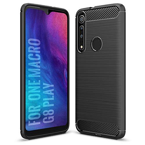 SCL Motorola One Macro Hülle Moto G8 Play Hülle Moto One Macro Hülle Motorola G8 Play Hülle, [Schwarz] Handyhülle Exquisite Serie-Carbon Design Schutzhülle mit Anti-Kratzer