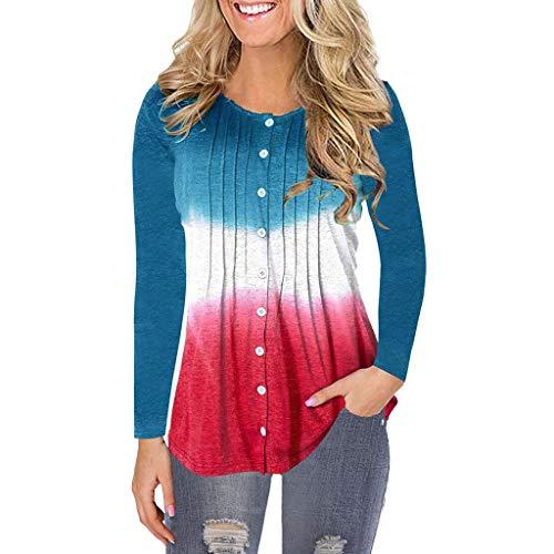LOPILY Damen Oberteile Farbblock Tops Farb Verlauf Pullover Kuschelige Tunika Bluse mit Knopfleiste Plisee Tshirts Basic Einfarbige Pulli Hoodie Locker Freizeit Shirt Große Größen (Blau, 46)