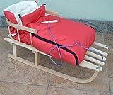 Holzschlitten mit Rückenlehne mit Winterfußsack 90cm 10 Farben Schlitten aus Holz (Rot)