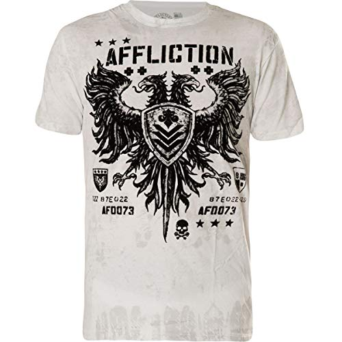 Affliction Men's Graphic T-Shirt, Clothing for Men, Men's Large T-Shirt, Double Eagle Graphic Designed Clothing for Men Large Shirt. Made in America. White