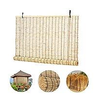 HMM 葦 カーテン、バンブー すだれ110x150cmロール スクリーン 竹、竹ロールスクリーン、ブラックアウトローラーブラインド、窓/テラス/パビリオン/カーポートの日焼け防止/カスタマイズ可能に使用