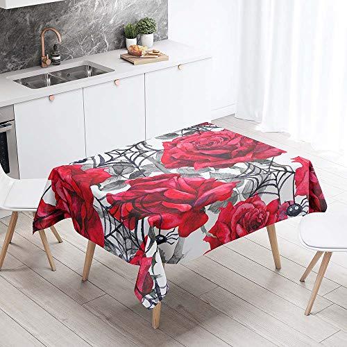 Mantel para Mesa Impermeable Antimanchas, Chickwing Margarita 3D Patrón Cocina Comedor Rectangular Resistente al Desgaste Lavable Mantel de Poliéster (Rosa roja,60x60cm)