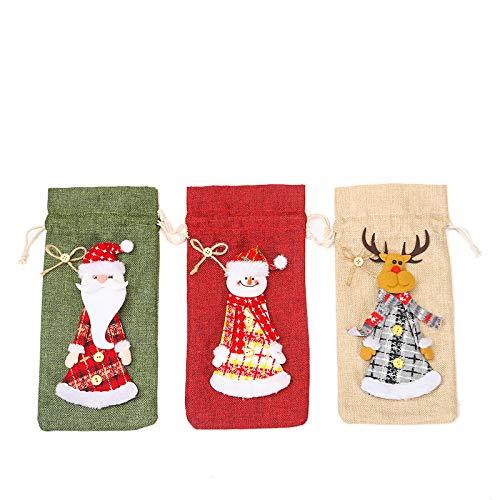 3 bolsas para botellas de vino de Navidad, muñeco de nieve, Papá Noel, alce, vajilla de Navidad, fiesta de Año Nuevo, decoración de cena, regalo de anfitriona