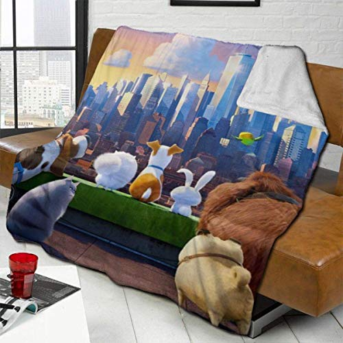 CHICHIHE The Secret Life of Pets Throw Blanket Fleece Blanket Ultra Soft Warm Lightweight Cozy Bed Blanket Fit Couch Sofa Suitable for All Season Throw