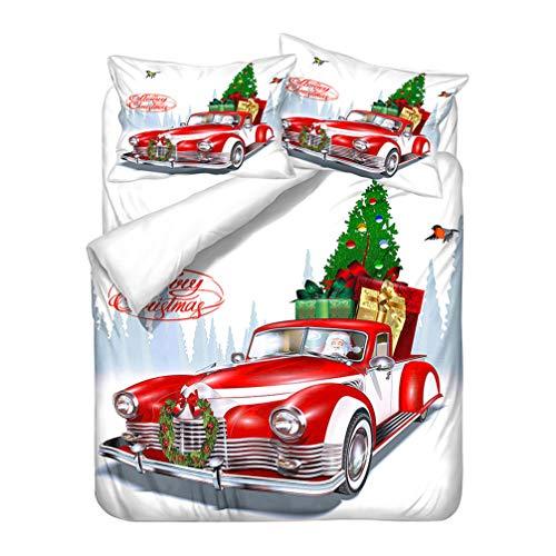 Rot Bettwäsche-Set Weihnachten Baum Elch Wagen Schneemann Bettbezug und Kissenbezug Christmas Mikrofaser Kinder Jungen Mädchen (Stil 3, 135x200 cm + 80x80 cm*1)