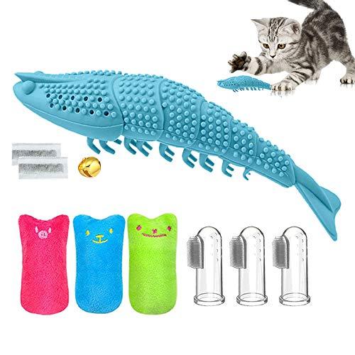 Katzenminze Spielzeug Zahnbürste Set, 1 Kicker Katzenspielzeug mit Katzenminze, 3 Plüsch Daumen Geformt Spielzeug, 3 Pet Finger Zahnbürste, Interaktive Spielsachen für alle Katzen und Kitten Geeignet