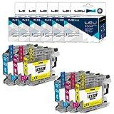 LCL Cartucho de Tinta Compatible LC121 LC123 LC123C LC123M LC123Y (2Cian 2Magenta 2Amarillo) Reemplazo para Brother MFC-J4410DW J4510DW J4610DW J4710DW J470DW
