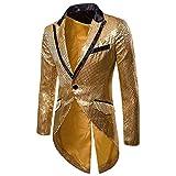 Cloudstyle Mens Sequin Tailcoat Swallowtail Suit Jacket Party Show Tux Dress Coat,Gold,Medium
