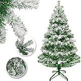 KESSER Weihnachtsbaum künstlich 180cm mit 588 Spitzen, Tannenbaum künstlich Edeltanne Schnellaufbau inkl. Christbaum-Ständer, Weihnachtsdeko – Schnee 1,8m