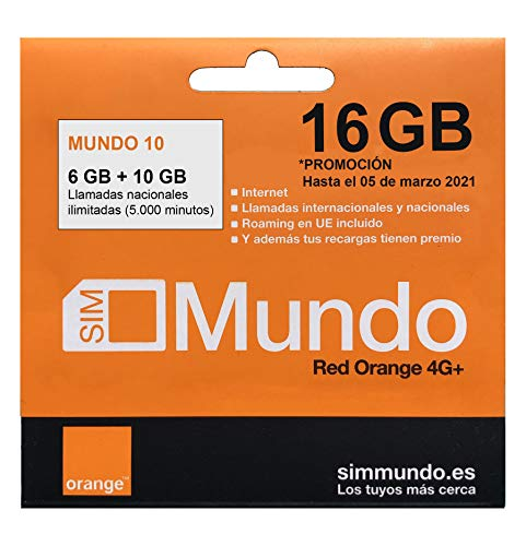Orange - Tarjeta SIM Prepago (Mundo-10) 16 GB en España   Llamadas Nacionales ilimitadas   5,5 GB Roaming en Europa   Activación Online   Velocidad 4G
