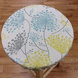 """Round bar stool cover for seats 12""""- 20"""" diameter. RUSTIC IRISH DAISY FLORAL PRINTS natural linen with light blue, grey and yellow colors. Stool slipcover with or without foam insert."""