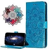 MRSTER Funda para Samsung Galaxy A40, Estampado Mandala Libro de Cuero Billetera Carcasa, PU Leather Flip Folio Case Compatible con Samsung Galaxy A40. LD Mandala Blue