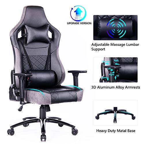 Blue Whale Big and Tall Gaming Chair with Massage Lumbar Support,Metal Base and 3D Aluminum Alloy Armrest Racing PC Computer Video Game Chair High Back PU Leather Office Desk Chair with Headrest Grey chair footrest gaming