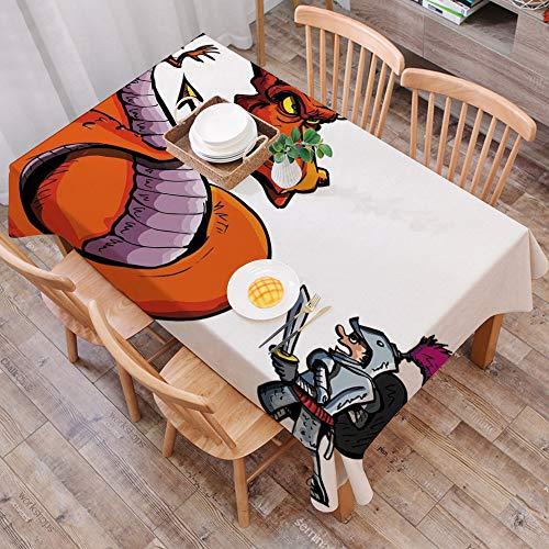 Mantel Antimanchas Rectangular Impermeable,Dragon, caricatura de un caballero frente a un feroz fuego escupiendo per,Manteles Mesa Decorativo para Hogar Comedor del Cocina,(140 x 200 cm/55*78 pulgada)