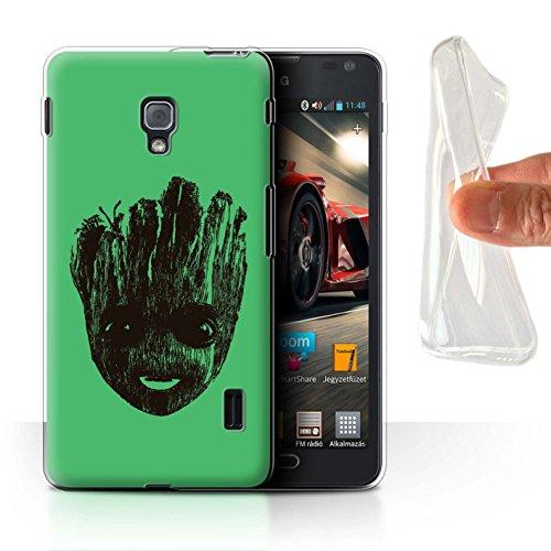 Hülle Für LG Optimus F6 Comic Wächter Inspiriert Nettes Baby Groot Gesicht Design Transparent Dünn Flexibel Silikon Gel/TPU Schutz Handyhülle Case