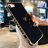 L-FADNUT Compatible with iPhone 7 Plus Case iPhone 8 Plus Case Women Girls Cute Bling Heart Design Plating Bumper Shockproof Slim Fit Soft Silicone Protective Cover for iPhone 8 Plus Phone Case,Black