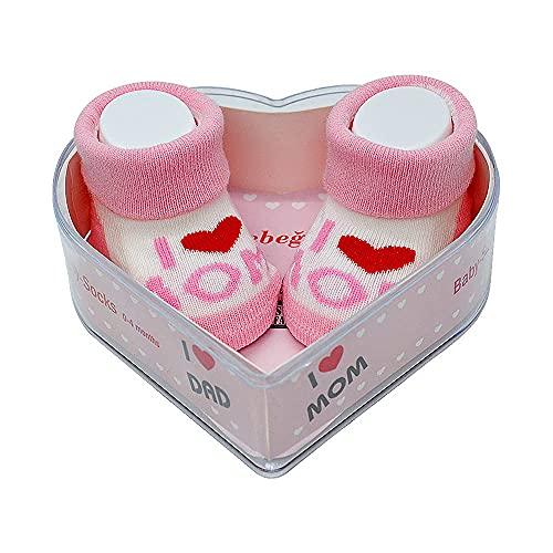 Neugeborene Babysocken 0-4 Monate Baby-Mädchen   Perfekter Geschenk für Neugeborene Babys & Babyshowers   schadstoffgeprüft OEKO-TEX® (Rosa - I Love You Mom & Mom)