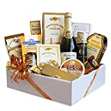 Gourmet Holiday Christmas Themed Gift Basket   Sparkling Cider, Meat, Cheese, Nuts, Chocolate and More