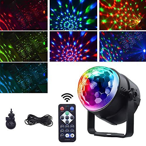 Bonlux LED 3W Farbige Discolicht Drehbares RGB Discokugel Partylicht mit Fernbedienung USB Kabel 7 Lichtmodus Modi 3 Muisk Sprachsteuerte Modi Farbige Lichter für Party Disco DJ Club