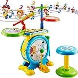 BIUNIY Instrumento Musical Electrónico Rock and Roll, Juguete para Niños con Percusión, Teclado, Micrófono Y Taburete Juguete para Niños Regalos De Cumpleaños De Navidad