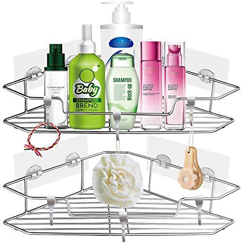 Bathroom Shower Corner Shelf, Stainless Steel Wall Mounted Shower Caddy Tray Storage Basket Shelves No Drilling Self Adhesive Bathroom Shelf Organizer Bath Rack Shampoo Holder with 3 Hooks (2 Pack)
