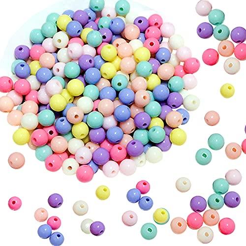 VEGCOO 600 Pz Perline Colorate per Bambini, Perline Acrilico Rotondo, Artigianali Perline di Plastica per Braccialetti Artigianali Collane Creazione di Gioielli (C)