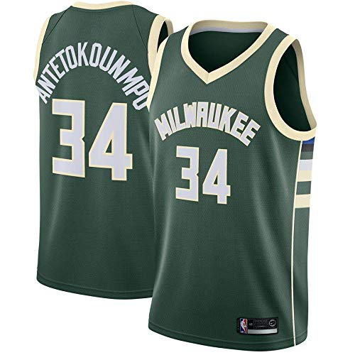 canottejerseyNBA Giannis Antetokounmpo, Milwaukee Bucks #34, Basket Jersey Maglia Canotta, Swingman Ricamata, Abbigliamento Sportivo (S, Verde)