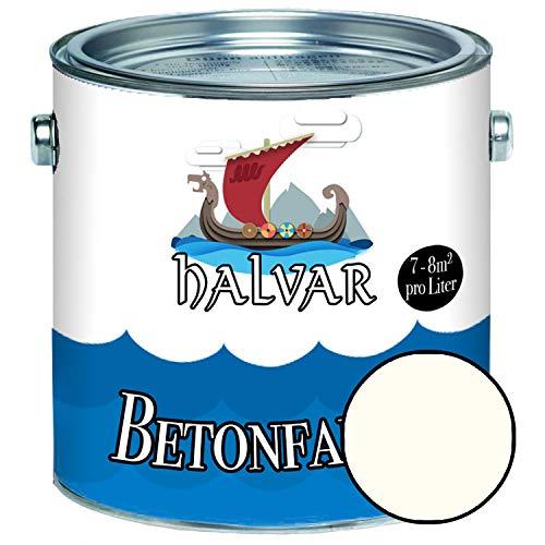 Halvar Betonfarbe/Bodenbeschichtung SEIDENMATT Weiß/Grau/Schwarz RAL 9001-9018 Fassadenfarbe (1 L, RAL 9001 Cremeweiß)