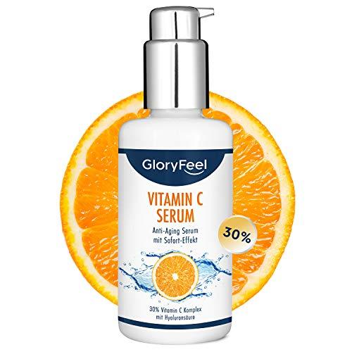 Vitamin C Serum 100ml + Hyaluronsäure - Hochdosiert mit 30% Vitamin C - Veganes Anti-Aging Gesichtsserum - Dermatologisch getestet und ohne Zusätze hergestellt in Deutschland