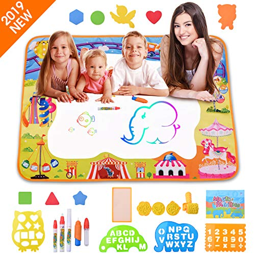 HANGRUI Water Doodle Mat Magic Drawing Mat Kids Toys Mess Free Neon Coloring Painting Board Educational Toys Writing Mats Xmas Gifts for Toddlers Boys Girls Age of 3,4,5,6,7,8,9,10 Years Old