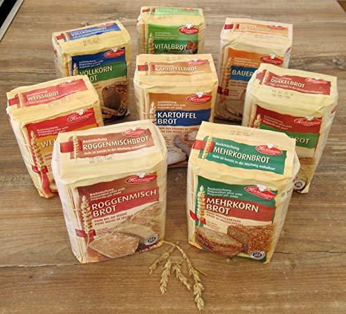 Leguana Handels GmbH 8 Brotbackmischungen, Vorsorgepaket für insgesamt 8X 1500g fertiges Brot, incl. Bio-Sonnenblumenkörner, Bio-Leinsamen, Bio-Kürbiskerne & Quinoa