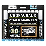 White Liquid Chalk Markers for Blackboards by VersaChalk (10 Chalkboard Markers, 5mm Bold Tip) - Washable Erasable Chalk Pens for Windows, Glass, Bistro Menu Signs, Chalk labels, Stickers