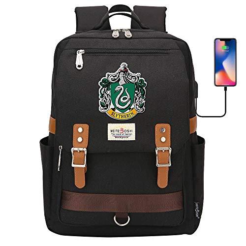 Hogwarts College Backpack,harry Potter Laptop Scuola Borsa,moda Casual Travel Rucksack Serpeverde Nero