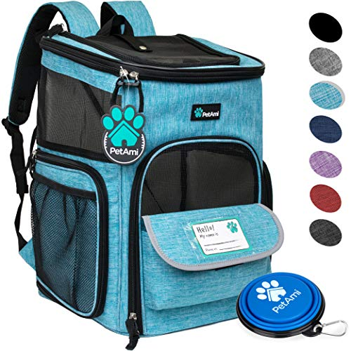 PetAmi Pet Carrier Backpack for Small Cats, Dogs, Puppies | Airline Approved | Ventilated, 4 Way Entry, Safety and Soft Cushion Back Support | Collapsible for Travel, Hiking, Outdoor (Turquoise)