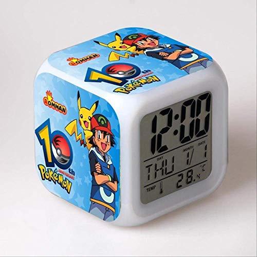 WFQ Reloj Pulsera Inteligente Princesa Pokemon Go Reloj Despertador Digital Cambio De Color Led Reloj Despertado Niños Juguetes De Dibujos Animados Transparente
