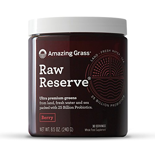 Amazing Grass Raw Reserve: Ultra Premium Greens and Probiotics, 2.5 Servings of Greens per Scoop, Berry Flavor, 30 Servings