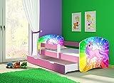 Clamaro 'Fantasia Pink' 160 x 80 Kinderbett Set inkl. Matratze, Lattenrost und mit Bettkasten Schublade, mit verstellbarem Rausfallschutz und Kantenschutzleisten, Design: 18 Einhorn Regenbogen