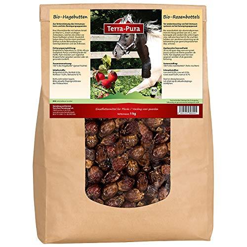 TERRA-PURA Tiernahrung Bio-Hagebutte, Pferdeleckerlies, Unterstützung des Immunsystems und Bewegungsapparates, 1kg