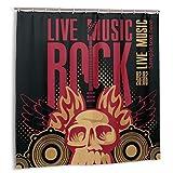 FQWEDY Cortina de baño, póster para un Concierto de Rock con un cráneo Humano y Guitarra eléctrica Set de Cortina de baño con Ganchos