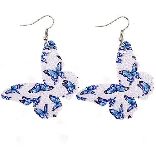 FEISHUO Aretes Nuevos Pendientes de cuero de mariposa Pendientes de cuero de PU estampados a doble cara Pendientes 01