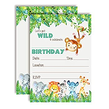Get Wild Watercolor Jungle Animals Birthday Party Invitations 20 5 x7  Fill In Cards with Twenty White Envelopes by AmandaCreation