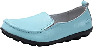 Comfy Loafers for Women,QueenMM Womens Slip-On Rubber Sole Leather Flats Casual Lightweight Nurse Shoes