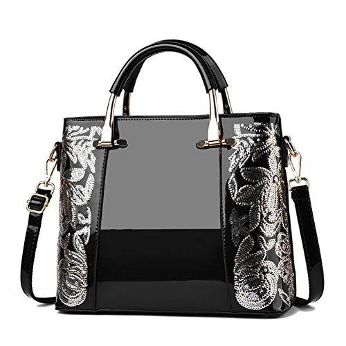 Nya kvinnor patent läder handväska paljetter broderi axel crossbody väska berömda damer handväska messenger kasse
