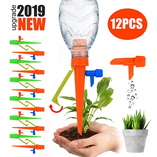 【2019 NEW 】Plant Self Watering Spikes System with Slow Release Control Valve Switch Self...