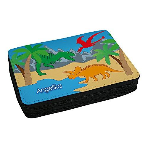 Eurofoto Schul-Mäppchen mit Namen Angelika und schönem Dinosaurier-Motiv für Mädchen inkl. Stifte, Lineal, Radierer, Spitzer