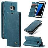 AKC Funda Compatible para Samsung Galaxy S7 Edge Carcasa con Flip Case Cover Cuero...