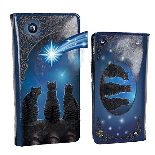 Nemesis nu wensen op een ster Lisa Parker reliëf portemonnee 18,5 cm blauw, PU, een maat