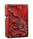 Desconocido Caja de mechero de Madera Natural Huanghuali Tallado en Palisandro para módulo Zippo (Matanza de Dragones)