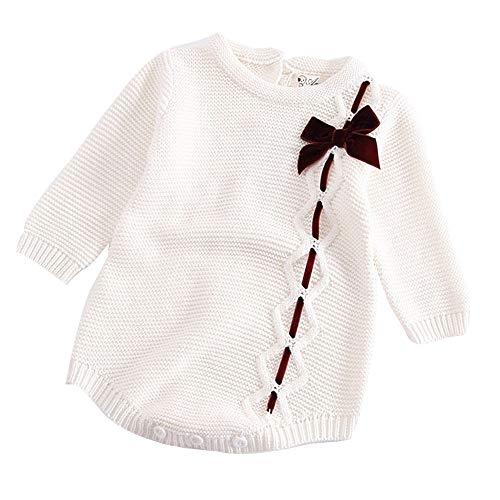 BeautyTop Unisex Neugeborenes Baby Strick Strampler Lange Ärmel Watte Weihnachten warme Pullover mit Elch Hirsche Schneeflocke Muster Mantel für die Saison Frühling, Herbst und Winter