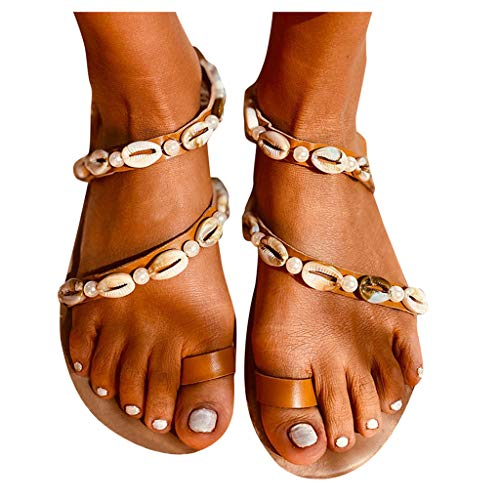 For Sale! Dainzusyful Womens Beach Shell Chain Clip Toe Sandals Retro Slingback Flip Flops Slip On C...